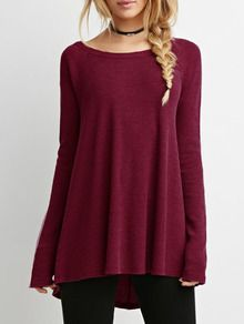 Wine Red Long Sleeve Round Neck T-Shirt