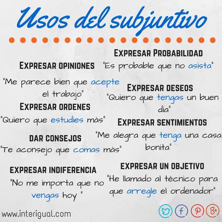 Cu les son los usos del subjuntivo en espa ol espa ol for Pinterest en espanol