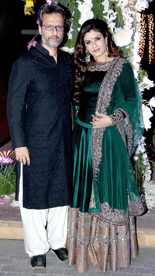Raveena Tandon and hubby Anil Thadani at Manish Malhotra's niece Riddhi's sangeet. #Bollywood #Fashion #Style #Beauty