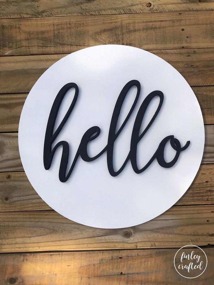 White Hello Door Hanger Welcome Wood Sign Front Door