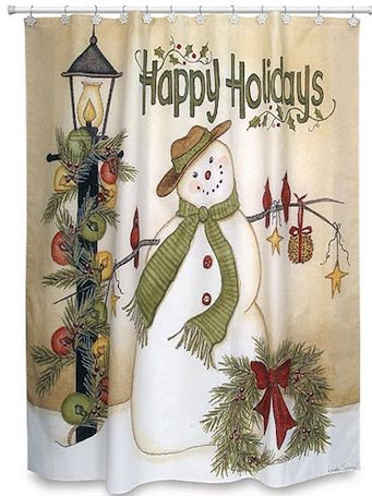 """It's that time of year, when your home is filled with the warmth and spice of the holidays! Dont forget to change your bathroom decor for the season with this charming Linda Spivey Snowman Christmas Shower Curtain, adorned with a festive snowman next to a light post and the words Happy Holidays. Also goes great with country decor! Made of 100% polyester and measures 72"""" by 72""""."""