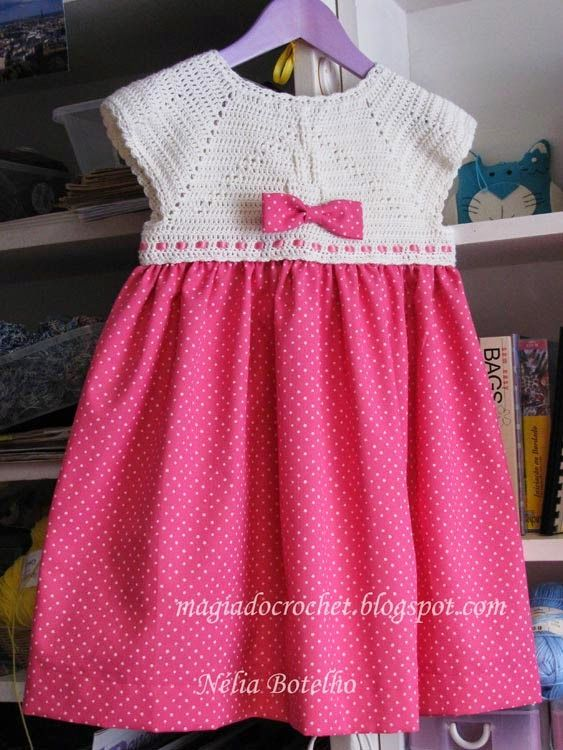 Magia do Crochet: Mais um vestido com encaixe em crochet...