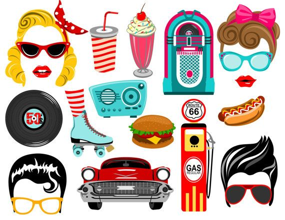 Fifties Inspired party characters were carefully hand drawn digitally. Great for your party, decorations, photo booth props and scrapbooking.