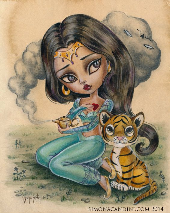 Princess Jasmine LIMITED EDITION print signed numbered Simona Candini lowbrow pop surreal big eyes Fairytales Aladdin tiger