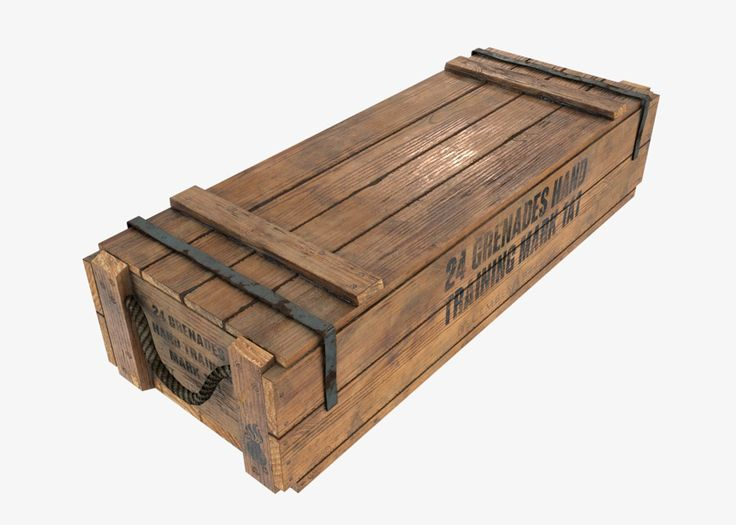Download VR / AR / low-poly 3d model US WWII wooden crate ready for Virtual…