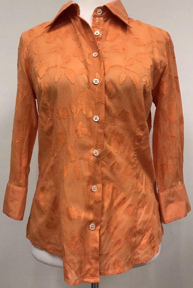 Robert Graham Button Down Sheer Textured Women's Orange Shirt Medium M #RobertGraham #ButtonDownShirt