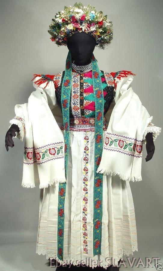 INCREDIBLE Slovak Wedding Folk Costume embroidered blouse apron vest bridal KROJ