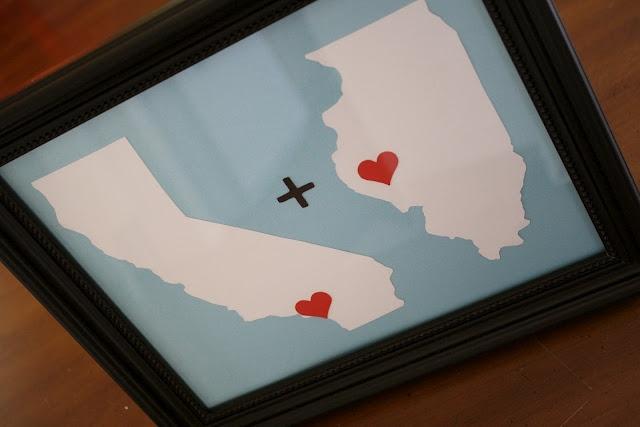 From the blog A Diamond in the Stuff: Home Town Love {Anniversary Gift} Frame the locations where you and your loved one came from when you met!