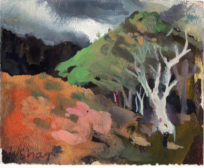 Wendy Sharpe, Red hills grey sky with Emus, Flinders Ranges, 2010
