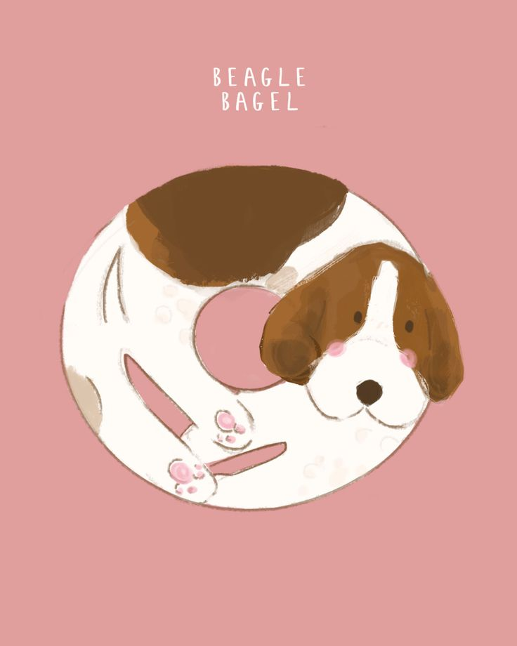 Beagle Bagel Funny Illustration Print A4 by LizzieMayDesign on Etsy