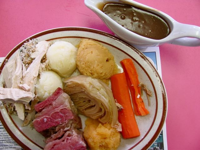 Jiggs dinner, traditional meal in NFLD, possibly named the cod-jiggers, consists of corned beef, cabbage, carrots and potatoes