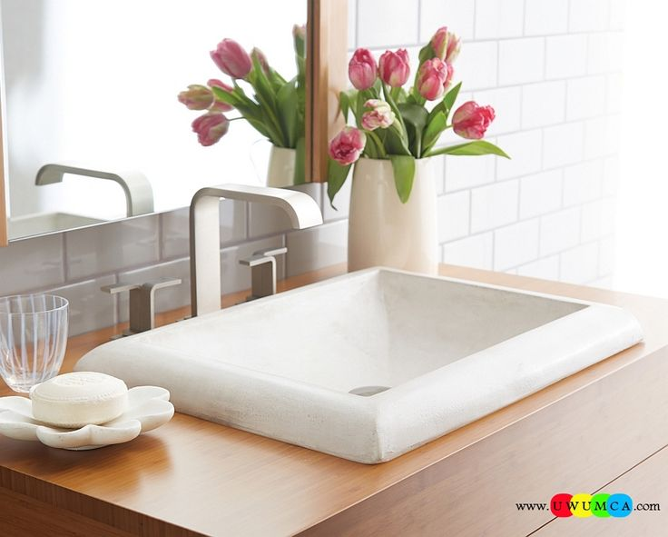 Bathroom:Contemporary Modern Artisan Crafted Sinks Handcrafted Vessel Metal Sink Bathroom Interior Furniture Decor Design Ideas Stylish Contemporary Sink In White With Recatngular Form Eco-Conscious, Artisan Crafted Sinks Sparkle With Contemporary Class