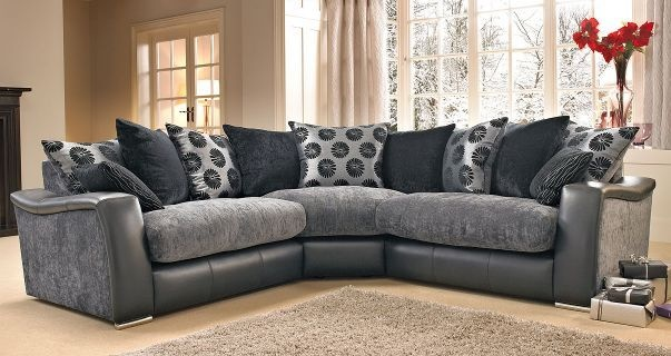 Leather Couch Lowri Corner Sofa Like Dfs Black/grey | Ebay | For The