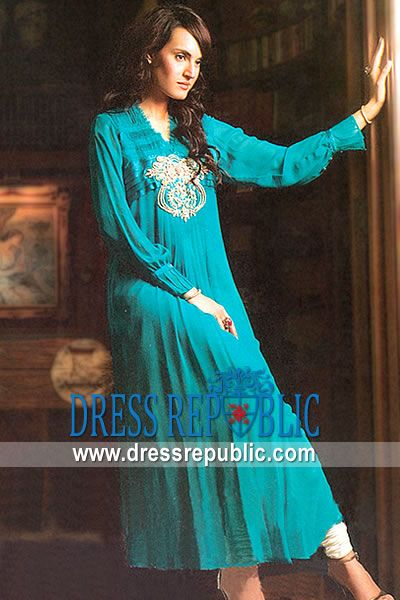 Turquoise Wemmer, Product code: DR7407, by www.dressrepublic.com - Keywords: Pakistani Designers Casual Shalwar Kameez 2012 Collection, Casual and Every Day Wears