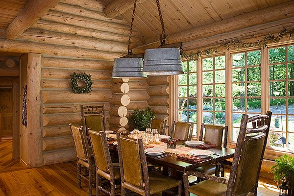 This is such a cute idea for the dinning room there is washtub chandeliers and the chairs  are hickory beautiful: Buckets Lights, Lights Fixtures, Tubs Lights, Washtub Lights, Rustic Dining Rooms, Tins Buckets, Logs Cabins, Lights Ideas, Rustic Home Interiors