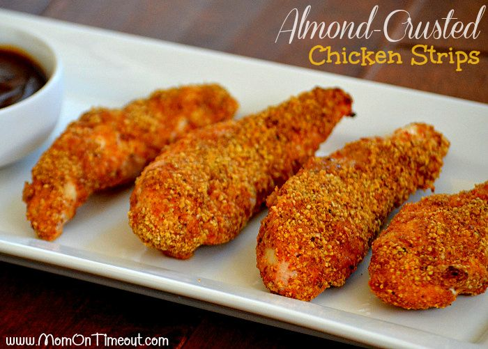 Almond-Crusted Chicken Strips by MomOnTimeout.com | Heart-healthy food has never been this delicious! #chicken #dinner #recipe