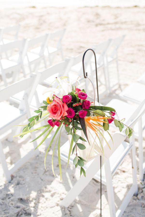 Hot Pink Orange Tropical Beach Wedding