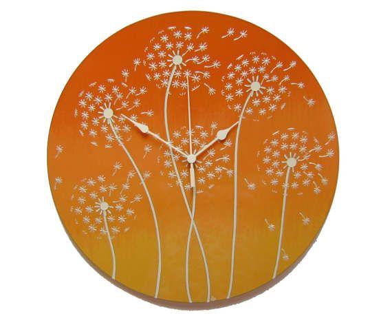 Dandelion Wall Clock Large Silent Orange wall clock