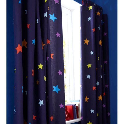 boys blue outer space rocket star curtains nursery