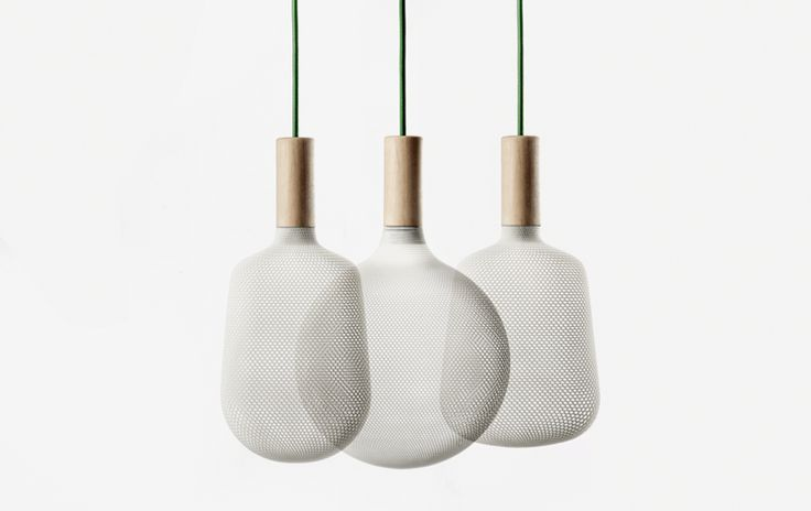 3D printed polyamide lighting pendants and table lamps by alessandro zambelli for .exnovo