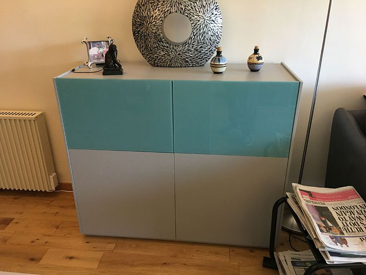 Modular ON Plus tall sideboard. Pull down doors with internal shelves. Delivered to our client in Surrey. Many different colours, materials and modules to choose from.