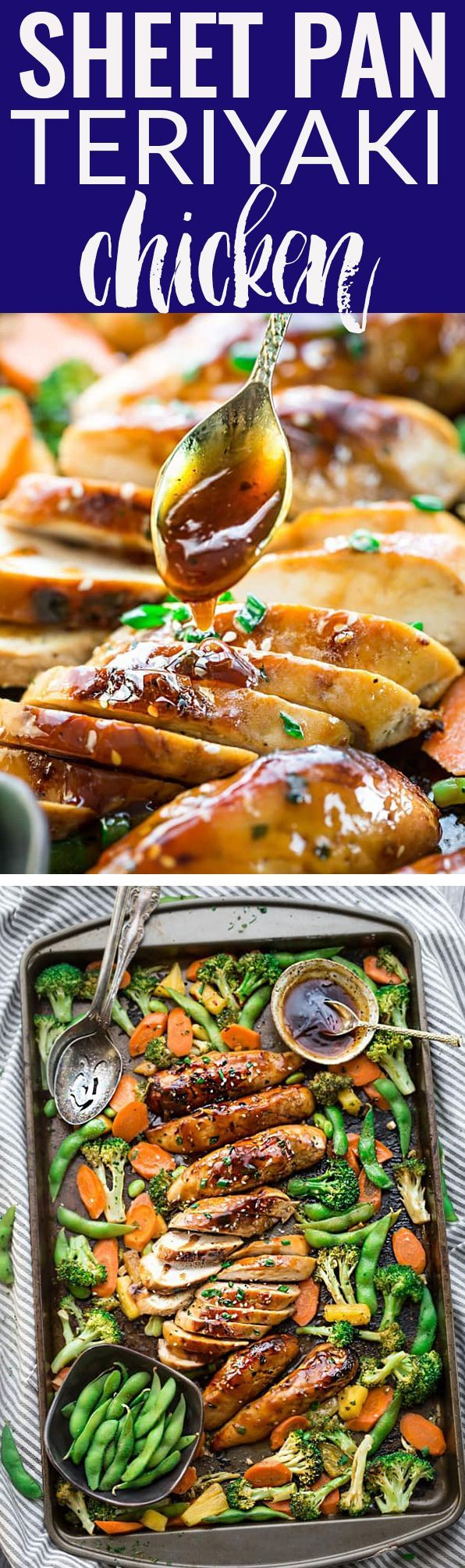 One Sheet Pan Teriyaki Chicken makes the perfect easy weeknight meal that is even better than your local Japanese takeout restaurant! Best of all, it's full of authentic flavors and super easy to make with just 10 minutes of prep time. Skip the takeout menu! This is so much better and healthier! Weekly meal prep or leftovers are great for lunch bowls or lunchboxes for work or school. #takeoutfakeout #lunchbox #sheetpan #mealprep #teriyaki #chicken