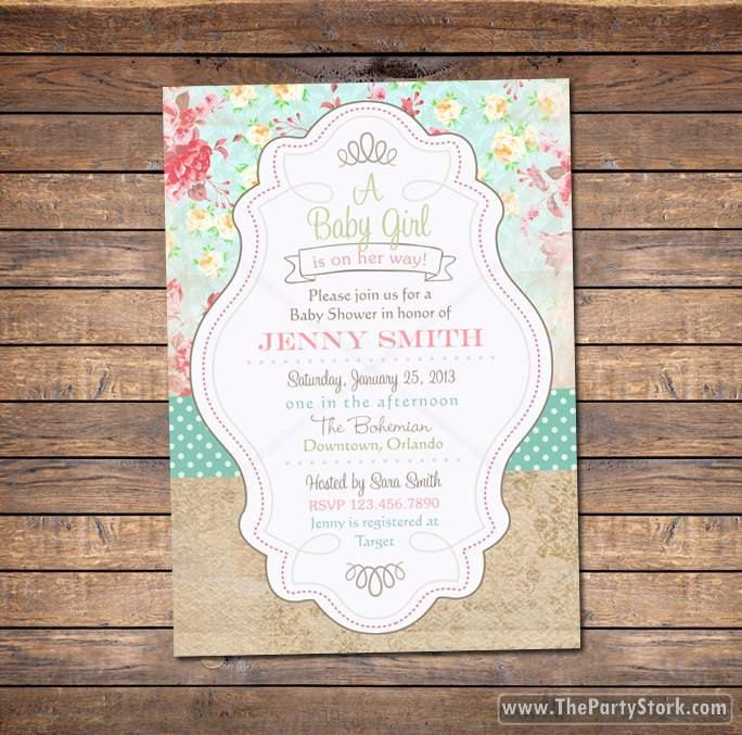 Shabby Chic Baby Shower Invite floral digital por thepartystork