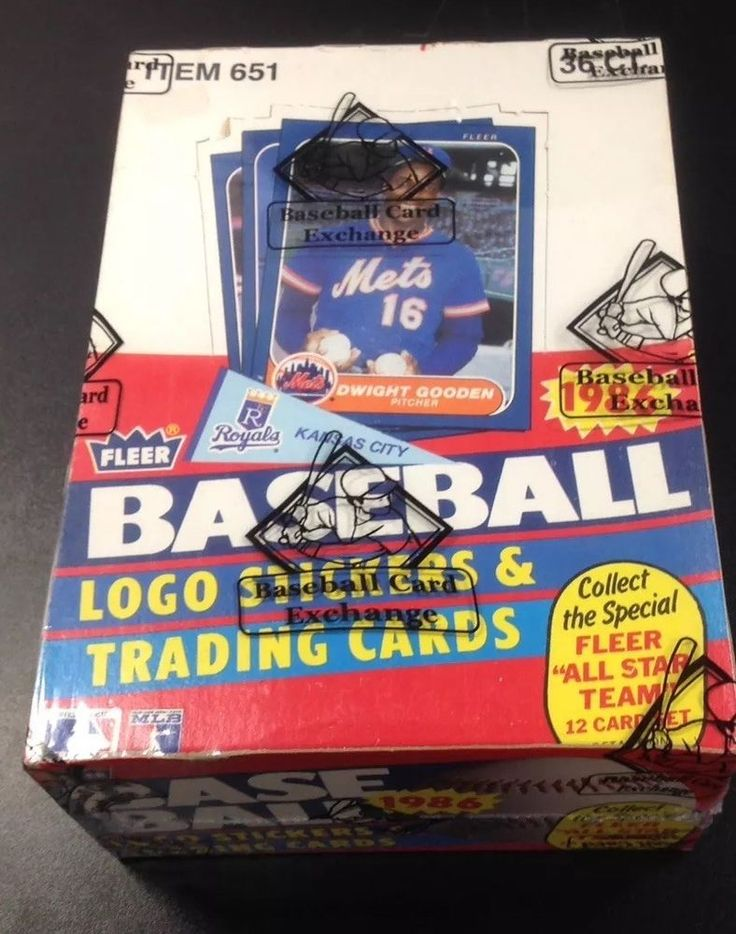 1986 fleer baseball unopened wax box bbce wrapped