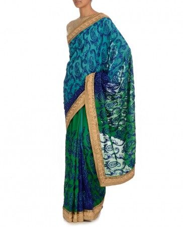 Blue & Green Sequinned Sari - Saris - Apparel