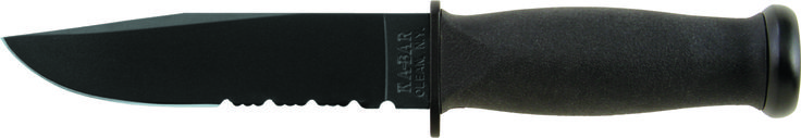 """KA-BAR 2222 USN Original military issue designed Mark 1 offers a Kraton G elastomer handle for better grip and control even in wet conditions. The knife has an epoxy powder coated, high carbon (1095) steel blade with a [HRC 56-58] hardness rating. The Mark 1 features a 5 1/8"""" combo edge blade that is flat ground sharpened to 20 / 20 degrees with buff polished edges. Overall length of this knife is 9 3/16"""", the perfect size for this easy carry tactical Navy knife. www.tomarskabars.com"""