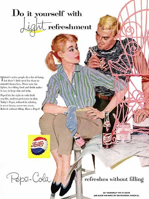 """1960s ads were for the young generation with different values, thus the catchphrase """"The Sociables prefer Pepsi"""". pepsi_they_like_being_on_the_go_1960"""