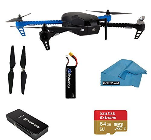 3d Robotics Iris+ Multicopter 915 Mhz + EXTRA 5100mAh 3S 8C Lithium Polymer Battery + Replacement Propeller Set + SanDisk Extreme PLUS 64GB UHS-I/U3 Micro SDXC Memory Card and Reader + Koozam Cloth