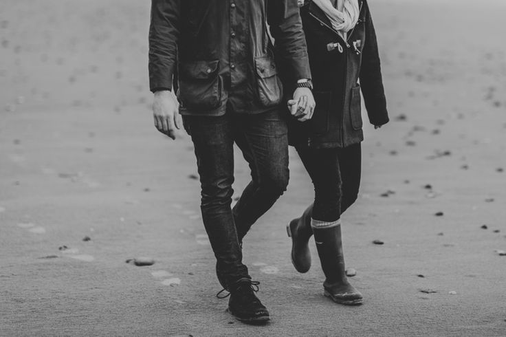 In step, in sync. Taken in Rhossili Bay, Gower Peninsula. Photo by Benjamin Stuart Photography #weddingphotography #blackandwhite #love #couple #engagement