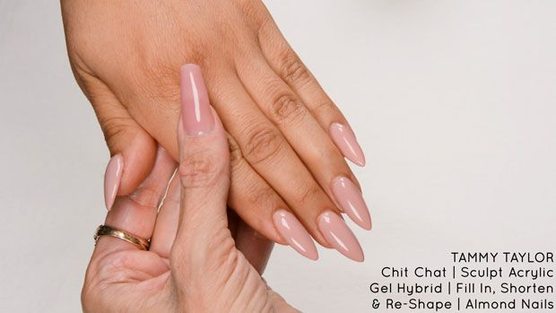 Chit Chat Sculpt Acrylic Gel Hybrid Fill In Shorten Re Shape Almond Shape Nails Tammy Taylor Acrylic Gel Acrylic Nails At Home Almond Shape Nails