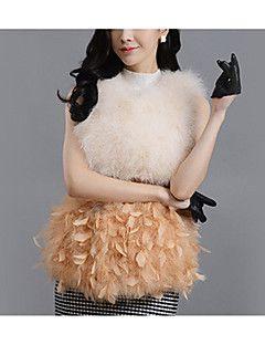 Kadın Orta Özel Kürk Tipleri Kolsuz Yuvarlak Yaka,Pembe Beyaz Siyah Gri Turuncu Altın Sonbahar Kış Zıt Renkli SevimliDışarı Çıkma
