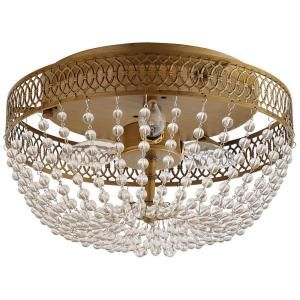 Hampton Bay Estelle 3-Light Champagne Flush Mount-HD13811FMCHPC at The Home Depot $69 (Much cheaper version of the Margeaux Ceiling Mount Chandelier on Ballard Designs)