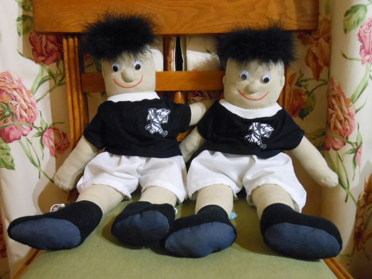 We haven't forgotten the boys.  Our rugby playing rag dolls are so soft and cuddly.  With their spiky hair and googly eyes, boys will love to use this rag doll as a mascot when their favourite team is playing!
