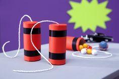 Dynamitstangen, Klorolle, Mitgebsel, Give-away, DIY, Basteln mit Kindern, Kindergeburtstag, produziert für tambini.de