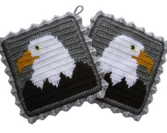 Bald Eagle Pot Holders. Gray, crochet potholders with American eagles.
