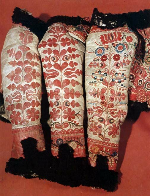 Sleeves of women's sheepskin jackets  Transdanubia  Budapest, Ethnographical Museum  Károly Szelényi. These were made on sheepskin with the tanned side out.