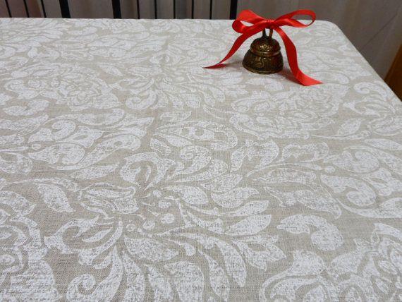Natural Linen Tablecloth. Scandinavian Tablecloth. White
