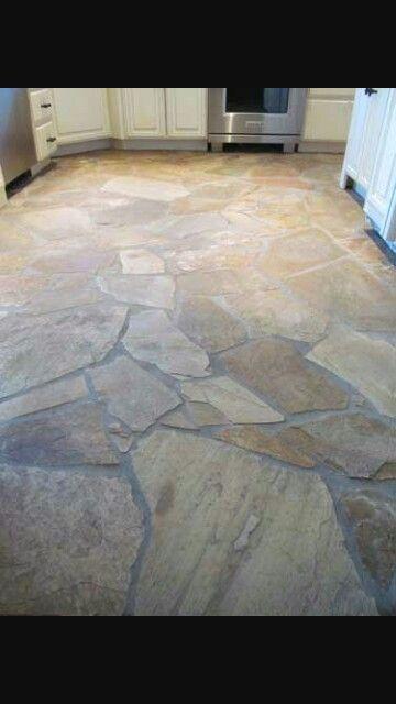 Indoor flagstone flooring! :) More
