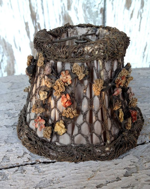 antique petite French lamp shade