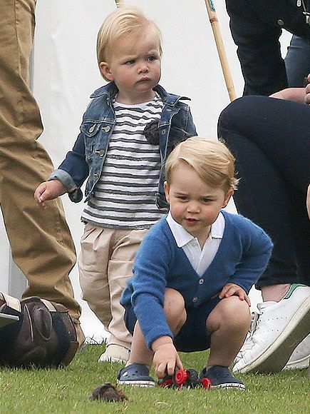 Prince George and his cousin Mia Tindall (18 months) at the polo ground on June 14th, 2015. Mia is the granddaughter of Princess Anne.