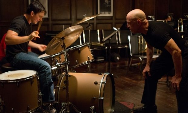 """February 2015 - 87th Academy Awards Ceremony - 2015 Oscars - JK Simmons WON Best Supporting Actor for his role in """"Whiplash."""" A Scene from the movie: Fletcher (JK Simmons) pushes Andrew (Miles Teller) to the limit."""
