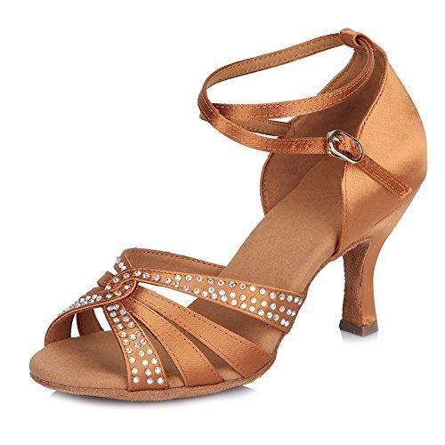 Oferta: 35.99€ Dto: -37%. Comprar Ofertas de SWDZM Mujer estándar Zapatos de baile latinos Satén Strass Ballroom modelo IA-4200, Marrón, 35 EU/22.5 CM barato. ¡Mira las ofertas!