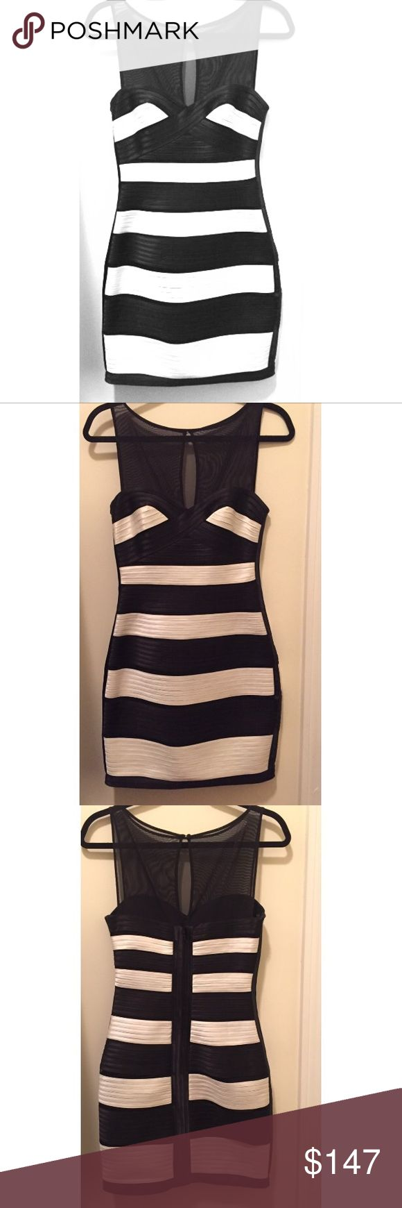 BCBG Cocktail Dress Black and white dress, very classy, suitable for formal occasions, size 4, worn once at a Gala dinner, in great condition. BCBGMaxAzria Dresses Midi