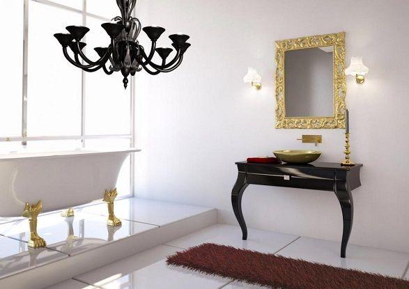 klasik banyo modelleri lavabo mobilya dolap ayna neoklasik tarz