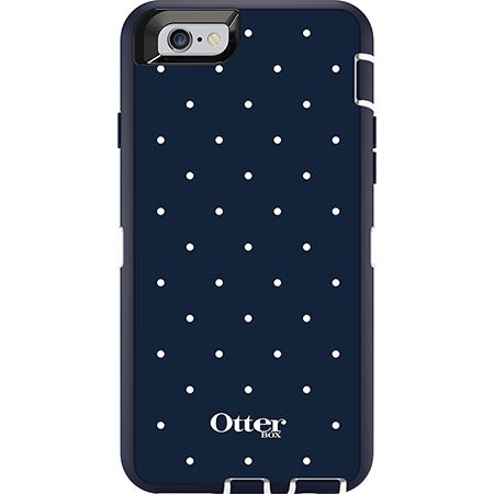 iPhone 6 Graphics Case from the Defender Series from OtterBox. Navy blue with white polka dots.