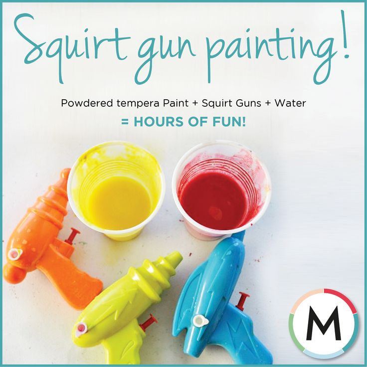 #HOWTO: SQUIRT GUN PAINTING    What's summer without a good old messy backyard game? Unleash your child's inner artist.